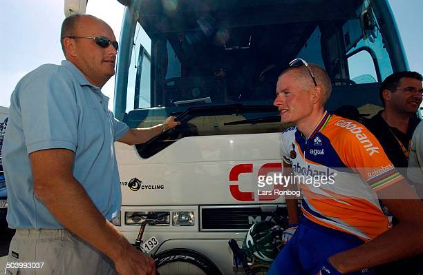Vuelta a Espana stage 15 Manager Bjarne Riis Team CSC talking to Michael Rasmussen Rabobank