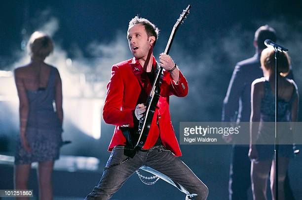 Vukasin Brajic of Bosnia and Herzegovina performs during the final dress rehearsal of the Eurovision Song Contest on May 28 2010 in Oslo Norway on...