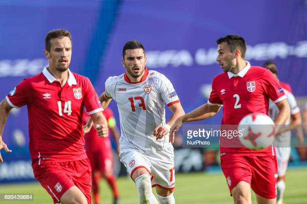 Vukasin Jovanovic Milan Gajic Kire Markoski during the UEFA European Under21 Championship Group C match between Czech Republic and Italy at Tychy...