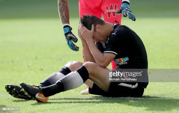 Vukasin Jovanovic of Bordeaux reacts during the Ligue 1 match between FC Girondins de Bordeaux and FC Nantes at Stade Matmut Atlantique on October 15...
