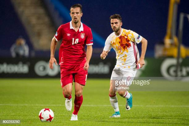 Vukasin Jovanovic of Serbia and Borja Mayoral of Spain during the UEFA European Under21 Championship 2017 Group B match between Serbia and Spain at...