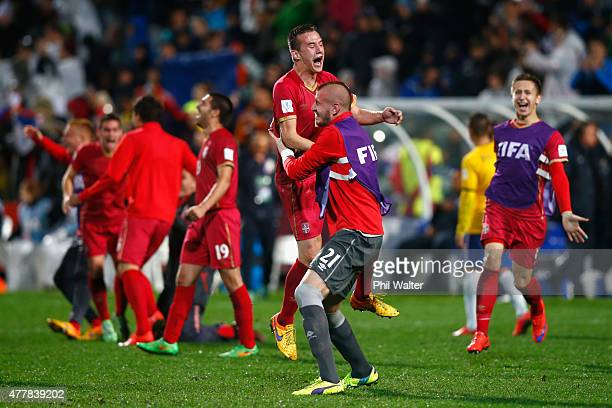 Vukasin Jovanovic of Serbia celebrates with Vanja Milinkovic following the FIFA U20 World Cup Final match between Brazil and Serbia at North Harbour...