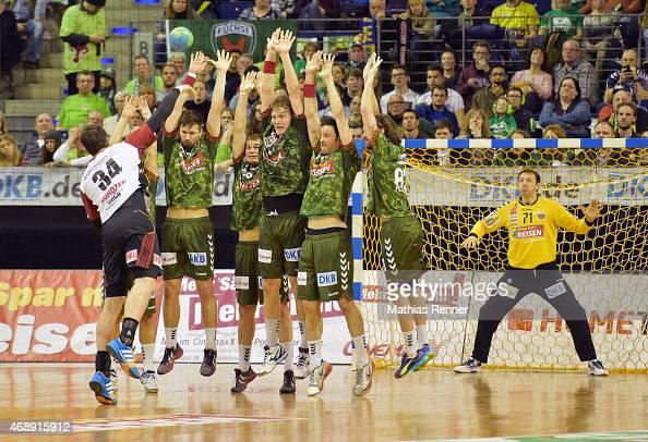 Vuko Borozan of TuS NLuebbecke Fabian Wiede Paul Drux Jesper Nielsen Iker Romero Fernandez Fredrik Raahauge Petersen and Petr Stochl of Fuechse...