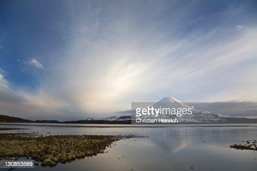 Vulcan Parinacota at dawn on lake Lago Chungara, national park Lauca, Chile, South America