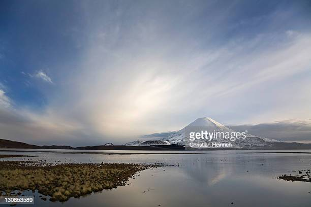 Vulcan Parinacota at dawn on lake Lago Chungara, national park Lauca, Chile, South America