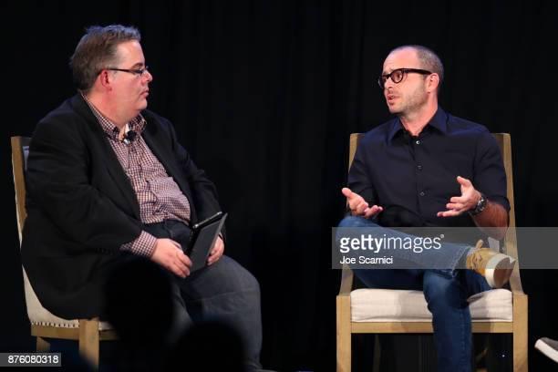 Vulture West Coast Editor Josef Adalian interviews producer Damon Lindelof during the 'Damon Lindelof and Mike Schur Discuss TV ' panel part of...