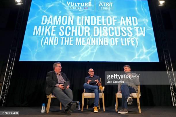 Vulture West Coast Editor Josef Adalian interviews producers Damon Lindelof and Michael Schur during the 'Damon Lindelof and Mike Schur Discuss TV '...