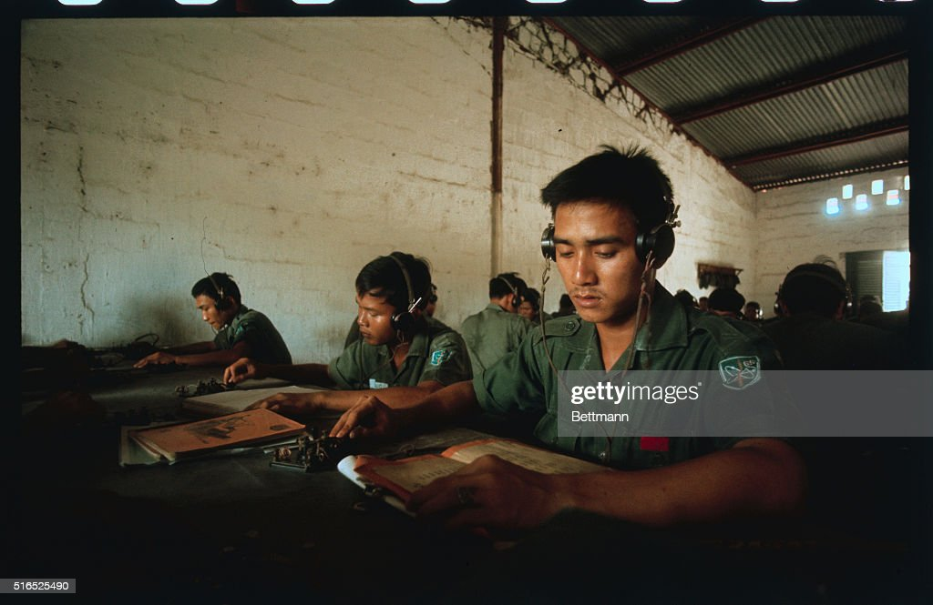 Vung Tau South Vietnam Female Teletype operators are shown in the classroom at the ARVN Signal School the largest technical school in Vietnam with...