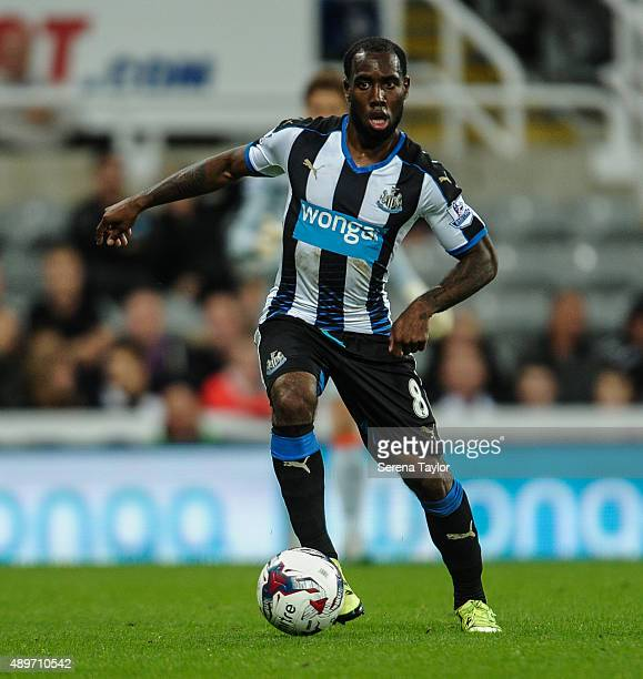 Vurnon Anita of Newcastle controls the ball during The Capital One Cup third round match between Newcastle United and Sheffield Wednesday at StJames...