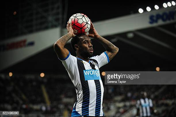 Vurnon Anita of Newcastle holds a ball above his head during the Barclays Premier League match between Newcastle United and Manchester City at...