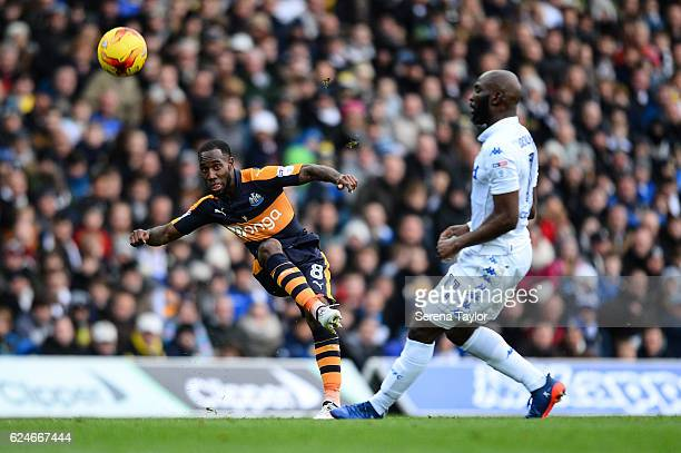 Vurnon Anita of Newcastle United crosses the ball and assists in Newcastle's second goal during the Sky Bet Championship Match between Leeds United...