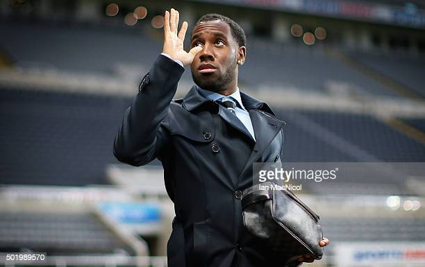 Vurnon Anita of Newcastle United is seen on arrival at the stadium prior to the Barclays Premier League match between Newcastle United and Aston...