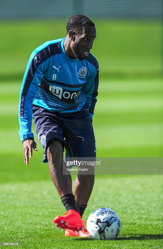 Vurnon Anita passes the ball during the Newcastle United Training Session at The Newcastle United Training Centre on August 26 in Bristol England