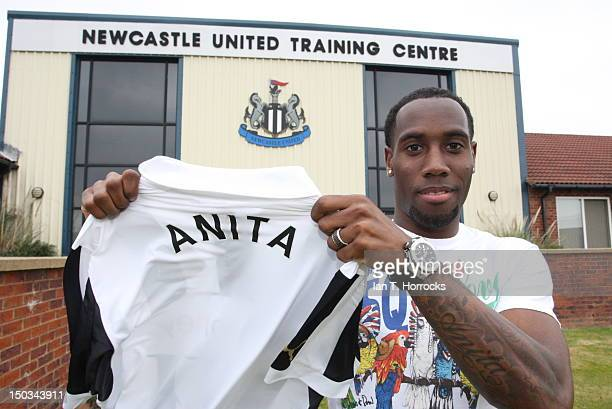 Vurnon Anita poses after signing for Newcastle United on August 16 at Little Benton Training Ground in Newcastle United Kingdom
