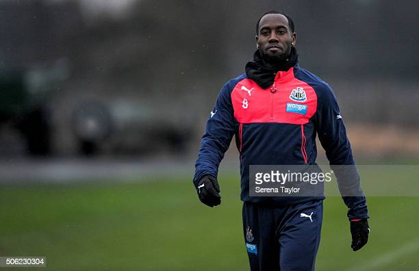 Vurnon Anita walks outside on the training pitch during the Newcastle United Training session at The Newcastle United Training Centre on January 22...