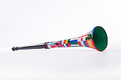Image of a Vuvuzela with soccer world cup team flags on