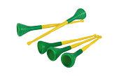 Collection of brazilian vuvuzelas, traditional plastic trumpets
