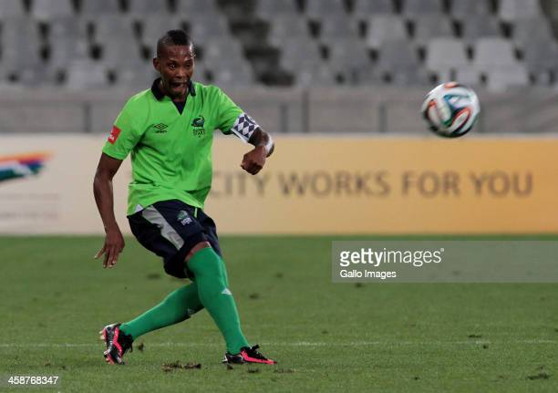 Vuyo Mere of Platinum Stars during the Absa Premiership match between Ajax Cape Town and Platinum Stars at Cape Town Stadium on December 21 2013 in...