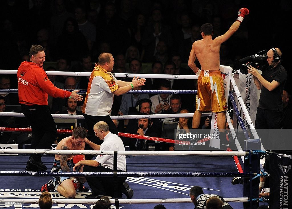 Vyacheslav Senchenko of Ukraine celebrates after stopping Ricky Hatton of Great Britain during their welterweight bout at MEN Arena on November 24, 2012 in Manchester, England.