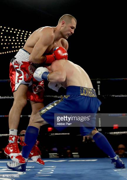 Vyacheslav Shabranskyypunches Sergey Kovalev during their Light Heavyweight at The Theater at Madison Square Garden on November 25 2017 in New York...