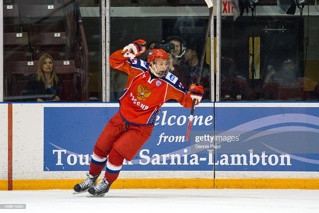 Vyacheslav Shevchenko #13 of Russia celebrates a goal against Finland during semifinals at the World Under-17 Hockey Challenge on November 7, 2014 at the RBC Centre in Sarnia, Ontario.