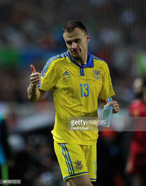 Vyacheslav Shevchuk of Ukraine reacts during the Spain v Ukraine EURO 2016 Qualifier at estadio Ramon Sanchez Pizjuan stadium on March 27 2015 in...