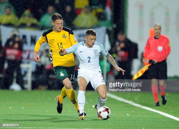 Vykintas Slivka and Kieran Trippier during the FIFA 2018 World Cup Qualifier between Lithuania and England on October 8 2017 in Vilnius Lithuania