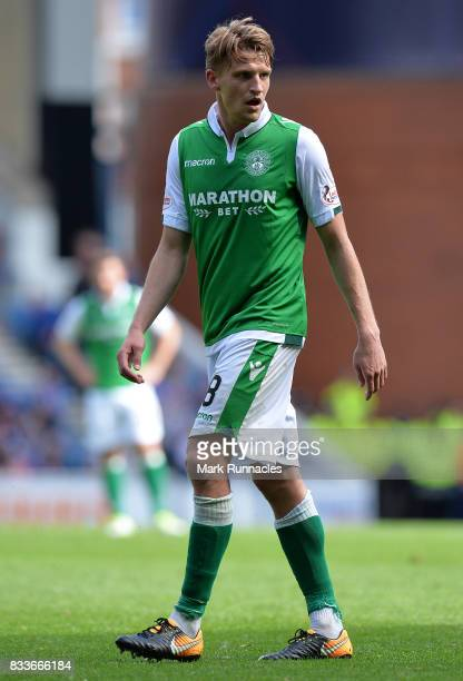 Vykintas Slivka of Hibernian in action during the Ladbrokes Scottish Premiership match between Rangers and Hibernian at Ibrox Stadium on August 12...