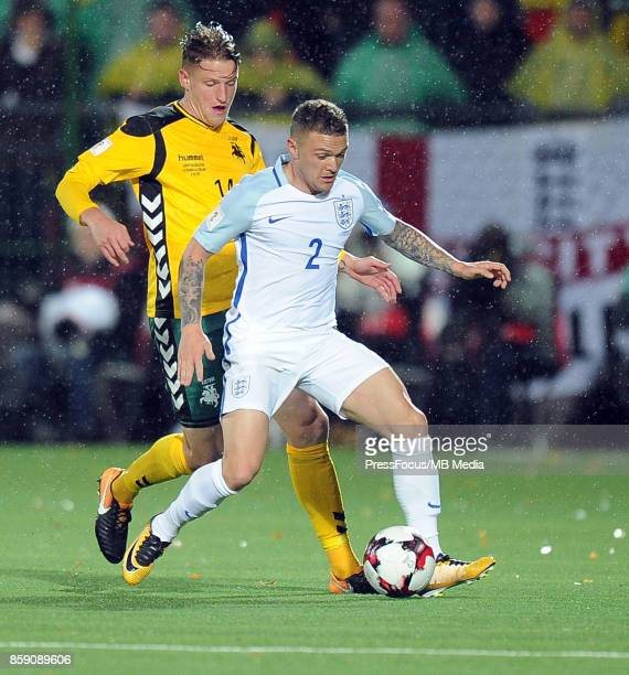 Vykintas Slivka of Lithuania and Kieran Trippier of England in action during the FIFA 2018 World Cup qualifier between Lithuania and England on...