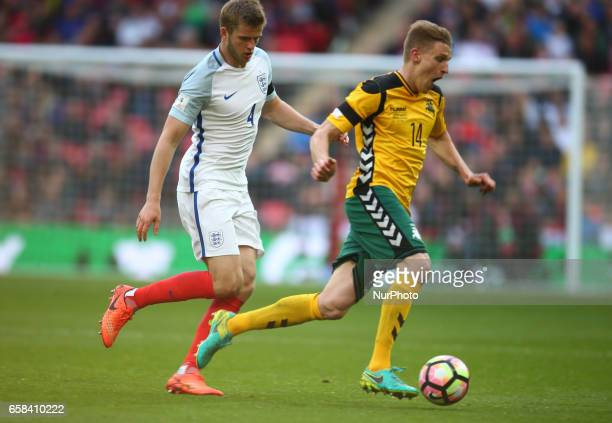 Vykintas Slivka of Lithuania during FIFA World Cup Qualfying European Group F match between England against Lithuania at Wembley Stadium London 26...