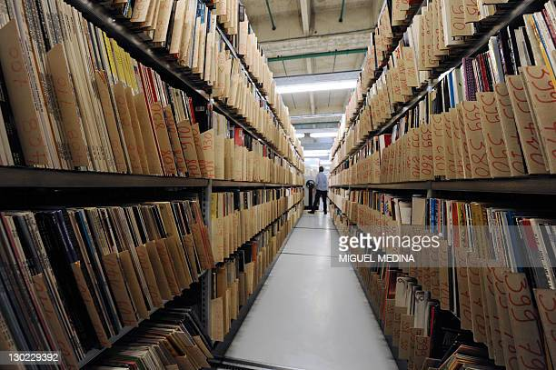 Vynil LPs are seen on October 19 2011 in Paris at the music library of the public media group Radio France AFP PHOTO MIGUEL MEDINA