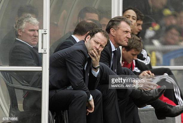 File picture dated 16 April 2006 showing Ajax coach Danny Blind with his assistants Gerard Van der Lem and Ruud Krol in Waalwijk Blind and his...