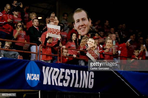 Wabash fans cheered during NCAA Division III Men's Wrestling Championship held at the La Crosse Center on March 11 2017 in La Crosse Wisconsin