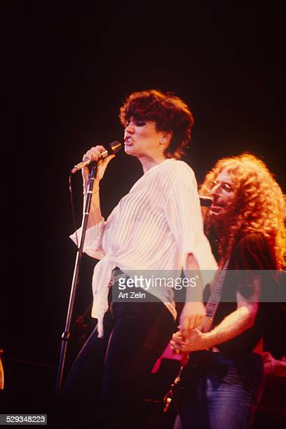 Waddy Wachtek and Linda Ronstadt in performance circa 1970 New York