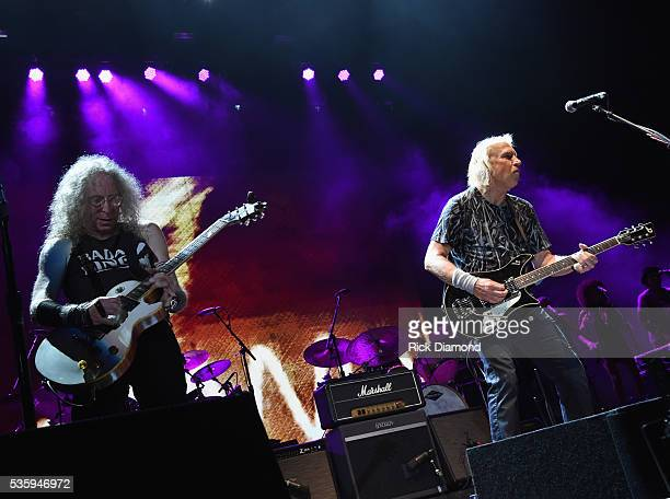 Waddy Wachtel and Joe Walsh perform during Joe Walsh Bad Company One Hell Of A Night Tour at Perfect Vodka Amphitheatre on May 29 2016 in West Palm...