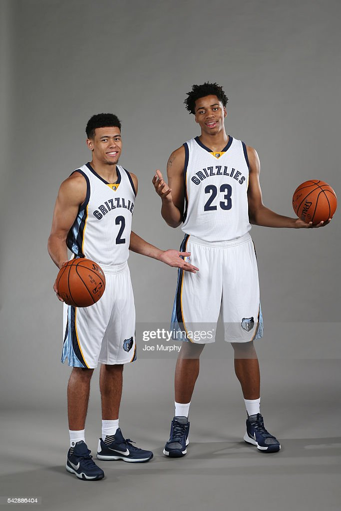 Wade Baldwin IV #2 and Deyonta Davis #23 of the Memphis Grizzlies pose for a portrait on June 24, 2016 at FedExForum in Memphis, Tennessee.