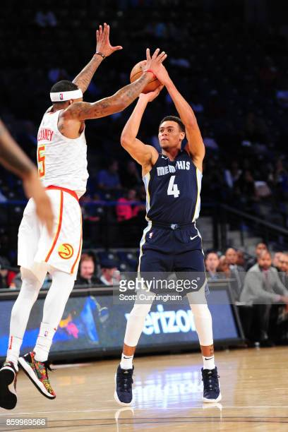 Wade Baldwin IV of the Memphis Grizzlies shoots the ball during the 201718 NBA preseason game against the Atlanta Hawks on October 9 2017 at McCamish...