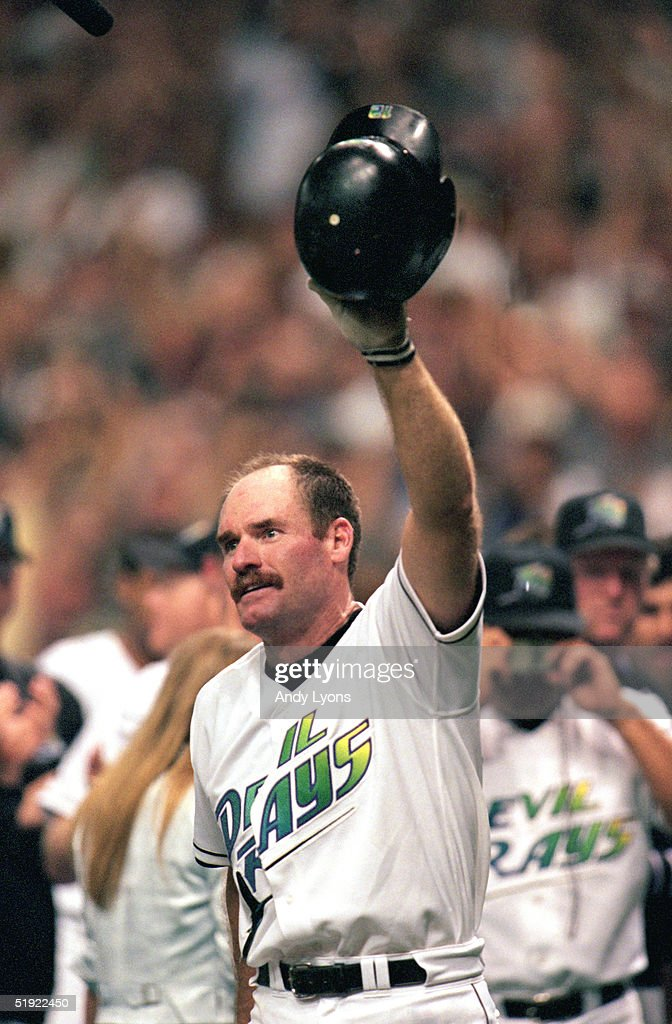 Wade Boggs of the Tampa Bay Devils Rays celebrates after hitting his 3000th hit with his second home run of the season in the sixth inning against...