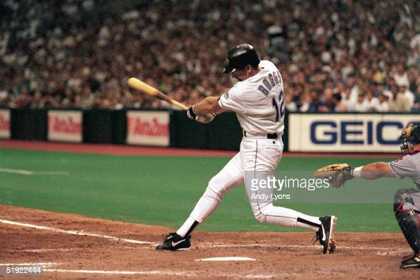 Wade Boggs of the Tampa Bay Devils Rays hits his 3000th hit and second home run of the season in the sixth inning against the Cleveland Indians...
