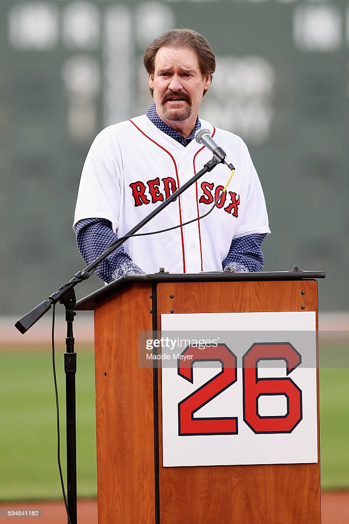<a gi-track='captionPersonalityLinkClicked' href=/galleries/search?phrase=Wade+Boggs&family=editorial&specificpeople=209175 ng-click='$event.stopPropagation()'>Wade Boggs</a> speaks during his uniform number retirement ceremony prior to the game between the Boston Red Sox and the Colorado Rockies at Fenway Park on May 26, 2016 in Boston, Massachusetts.