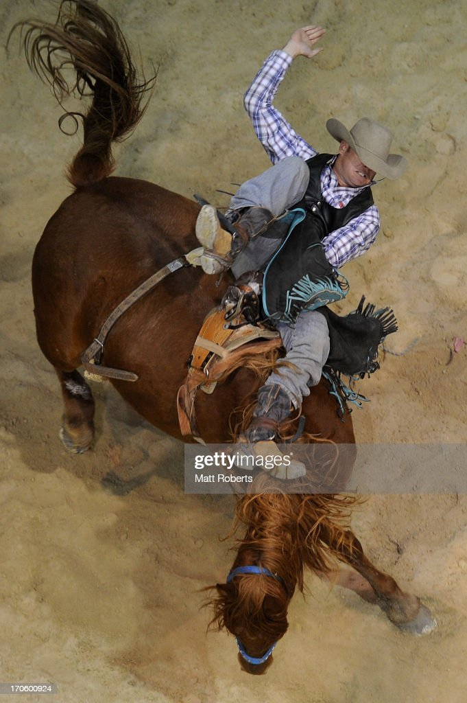 Wade Clifford of Gunnedah competes Bareback Bronc Riding during the National Rodeo Finals on June 15, 2013 on the Gold Coast, Australia.