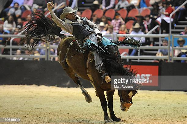 Wade Clifford of Gunnedah competes in the Bareback Bronc Riding during the National Rodeo Finals on June 16 2013 on the Gold Coast Australia