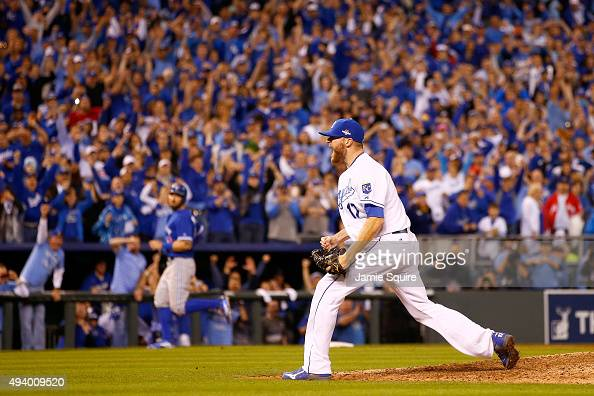 Wade Davis of the Kansas City Royals celebrates after the Royals 43 victory against the Toronto Blue Jays in game six of the 2015 MLB American League...