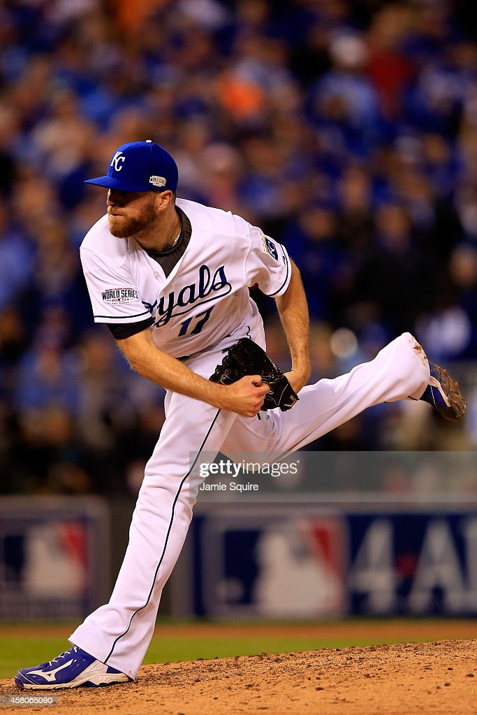 <a gi-track='captionPersonalityLinkClicked' href=/galleries/search?phrase=Wade+Davis+-+Baseball+Player&family=editorial&specificpeople=8202494 ng-click='$event.stopPropagation()'>Wade Davis</a> #17 of the Kansas City Royals pitches against the San Francisco Giants in the seventh inning of Game Seven of the 2014 World Series at Kauffman Stadium on October 29, 2014 in Kansas City, Missouri.