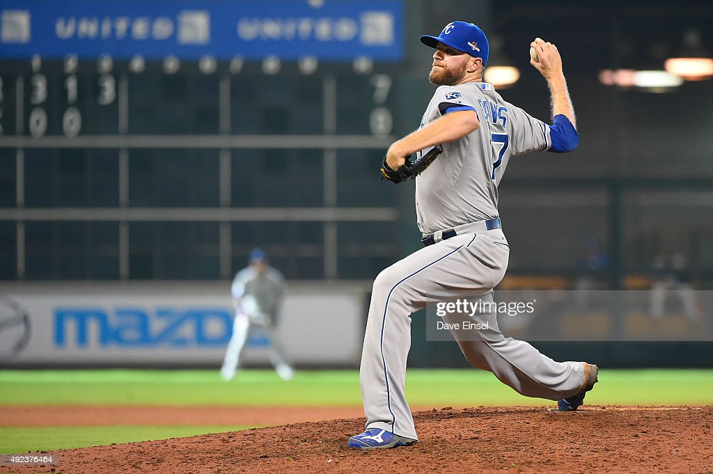 <a gi-track='captionPersonalityLinkClicked' href=/galleries/search?phrase=Wade+Davis+-+Baseball&family=editorial&specificpeople=8202494 ng-click='$event.stopPropagation()'>Wade Davis</a> #17 of the Kansas City Royals pitches during Game 4 of the ALDS against the Houston Astros at Minute Maid Park on Monday, October 12, 2015 in Houston, Texas.