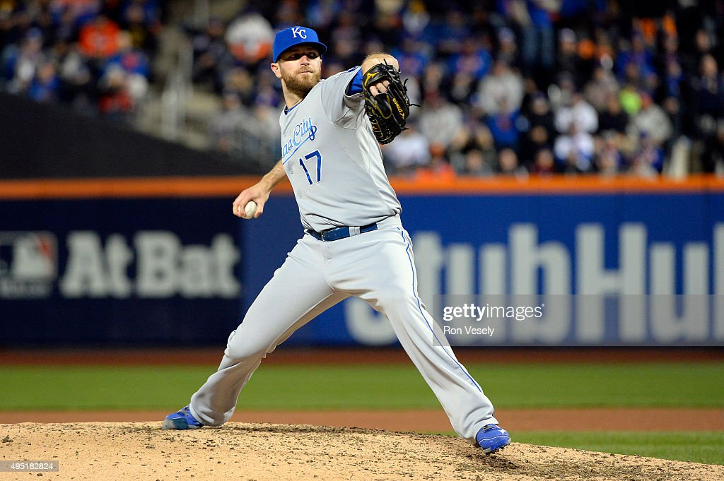 <a gi-track='captionPersonalityLinkClicked' href=/galleries/search?phrase=Wade+Davis+-+Baseball+Player&family=editorial&specificpeople=8202494 ng-click='$event.stopPropagation()'>Wade Davis</a> #17 of the Kansas City Royals pitches during Game 4 of the 2015 World Series against the New York Mets at Citi Field on Saturday, October 31, 2015 in the Queens borough of New York City.