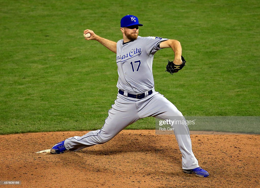 <a gi-track='captionPersonalityLinkClicked' href=/galleries/search?phrase=Wade+Davis+-+Baseball+Player&family=editorial&specificpeople=8202494 ng-click='$event.stopPropagation()'>Wade Davis</a> #17 of the Kansas City Royals pitches during Game Three of the 2014 World Series at AT&T Park on October 24, 2014 in San Francisco, California.