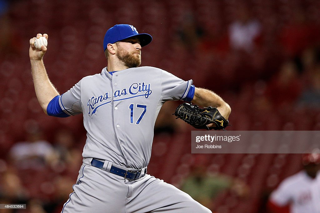 <a gi-track='captionPersonalityLinkClicked' href=/galleries/search?phrase=Wade+Davis+-+Baseball+Player&family=editorial&specificpeople=8202494 ng-click='$event.stopPropagation()'>Wade Davis</a> #17 of the Kansas City Royals pitches in the ninth inning against the Cincinnati Reds at Great American Ball Park on August 19, 2015 in Cincinnati, Ohio. The Royals defeated the Reds 4-3.