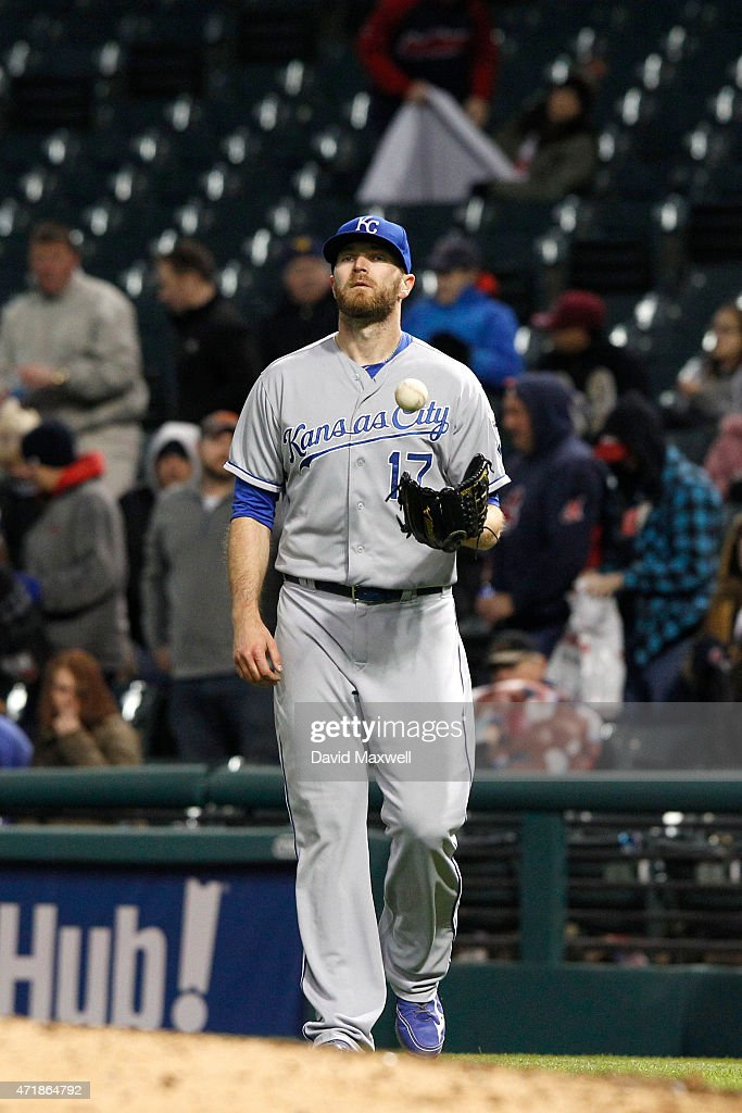 <a gi-track='captionPersonalityLinkClicked' href=/galleries/search?phrase=Wade+Davis+-+Baseball&family=editorial&specificpeople=8202494 ng-click='$event.stopPropagation()'>Wade Davis</a> #17 of the Kansas City Royals reacts after defeating the Cleveland Indians on April 27, 2015 at Progressive Field in Cleveland, Ohio. The Royals defeated the Indians 6-2.