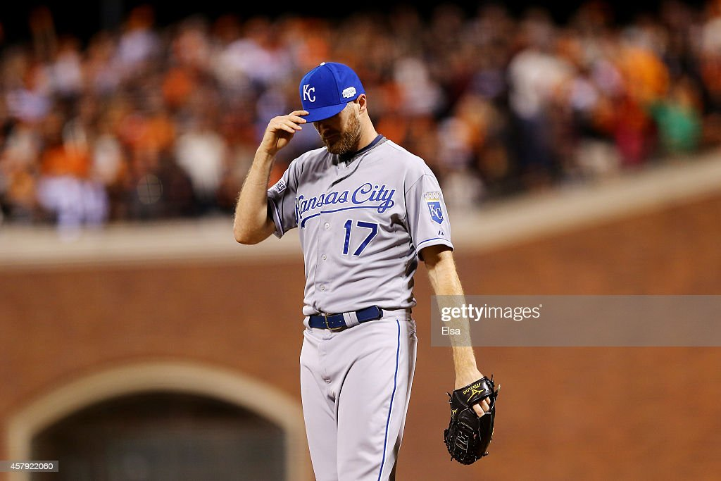 Wade Davis #17 of the Kansas City Royals reacts against the San Francisco Giants during Game Five of the 2014 World Series at AT&T Park on October 26, 2014 in San Francisco, California.